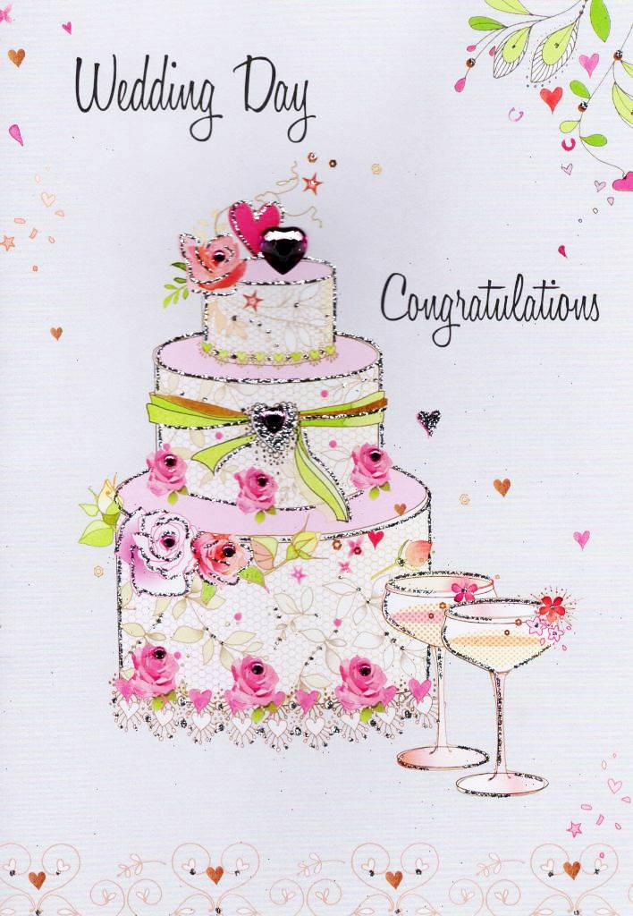wedding day congratulations card water colourssecond