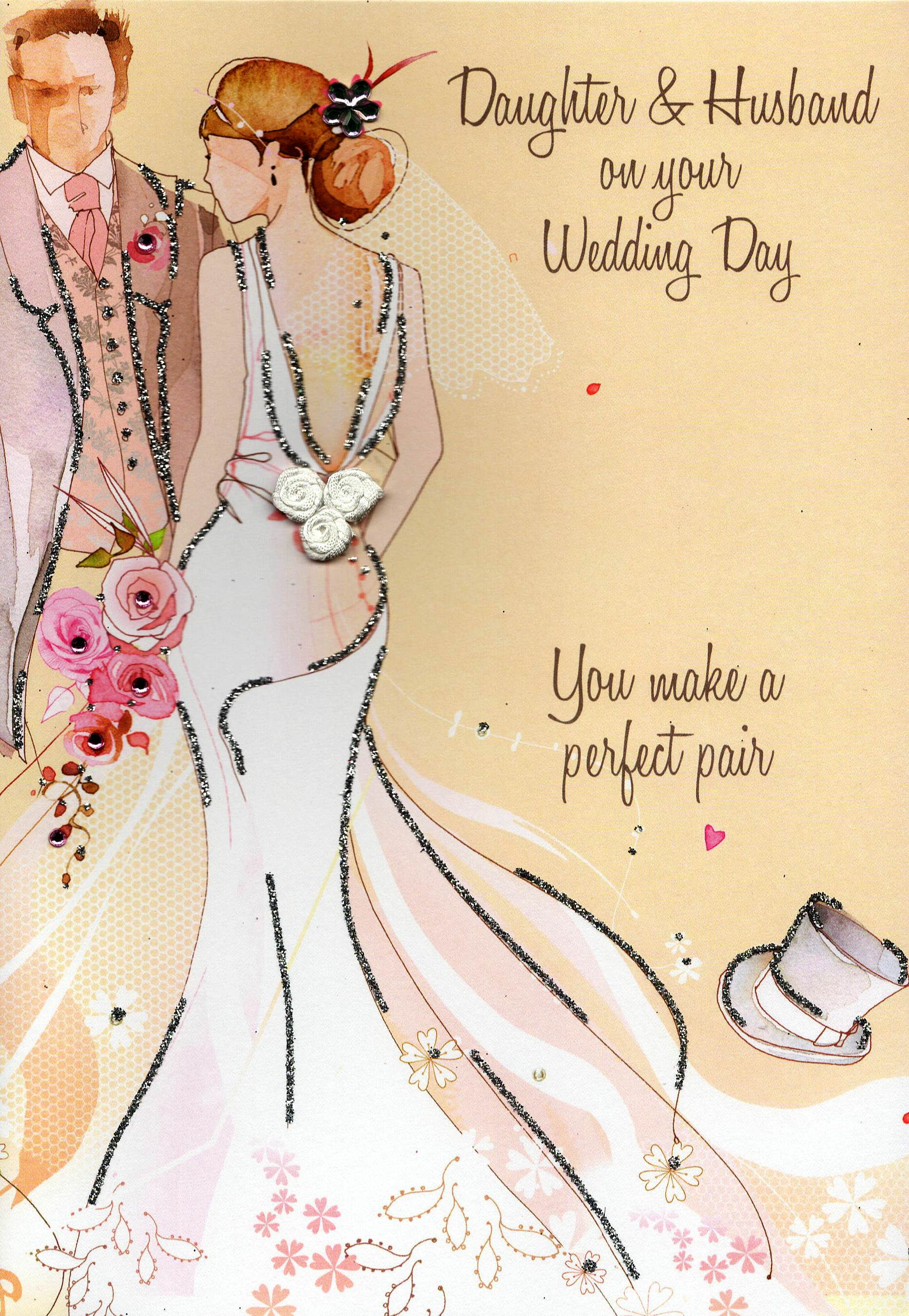 Daughter Husband Wedding Card Water Colours By Second Nature
