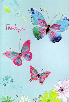 Thankyou Butterfly Greeting Card Water Colours By Second Nature