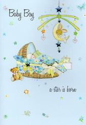 New Baby Boy Congratulations Card Water Colours By Second Nature