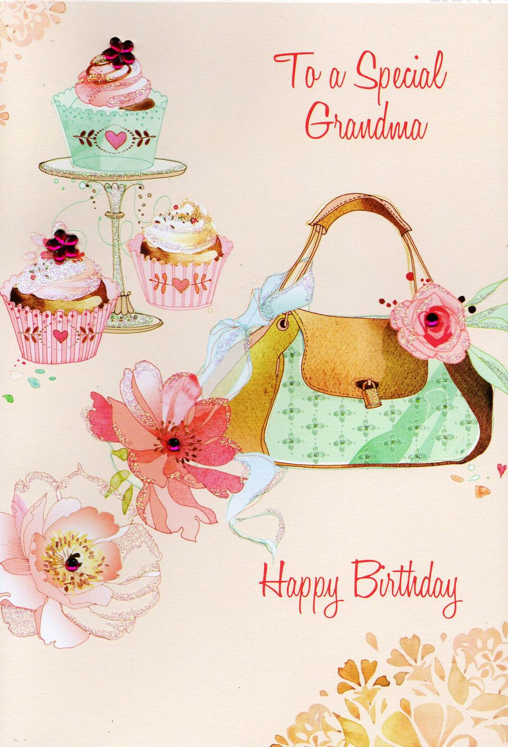 Grandma Happy Birthday Card Water Colours By Second Nature