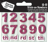 Numbers 0-9 Pink DIY Greeting Card Toppers