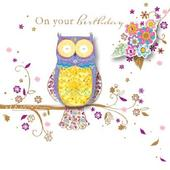 Handmade Owl Happy Birthday Greeting Card By Talking Pictures