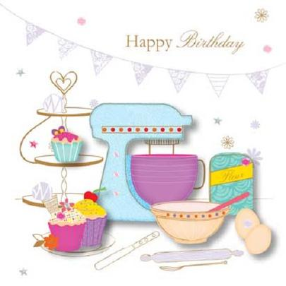 Handmade Baking Happy Birthday Greeting Card By Talking Pictures