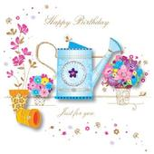 Handmade Flowers Happy Birthday Greeting Card By Talking Pictures