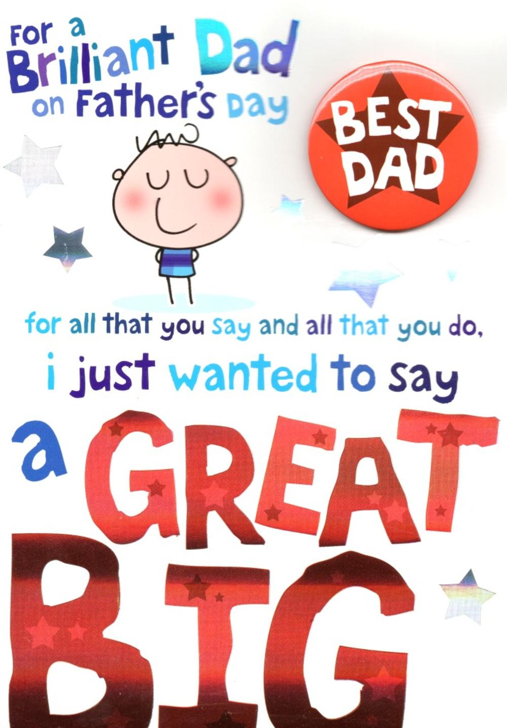 Best Dad Big Thank You Fathers Day Dad Card With Badge Cards