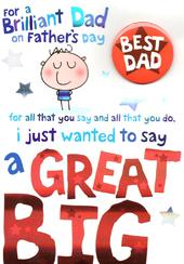 Best Dad Big Thank You Father's Day Dad Card With Badge
