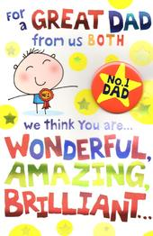 No.1  Dad From Both Of Us Father's Day Dad Card With Badge