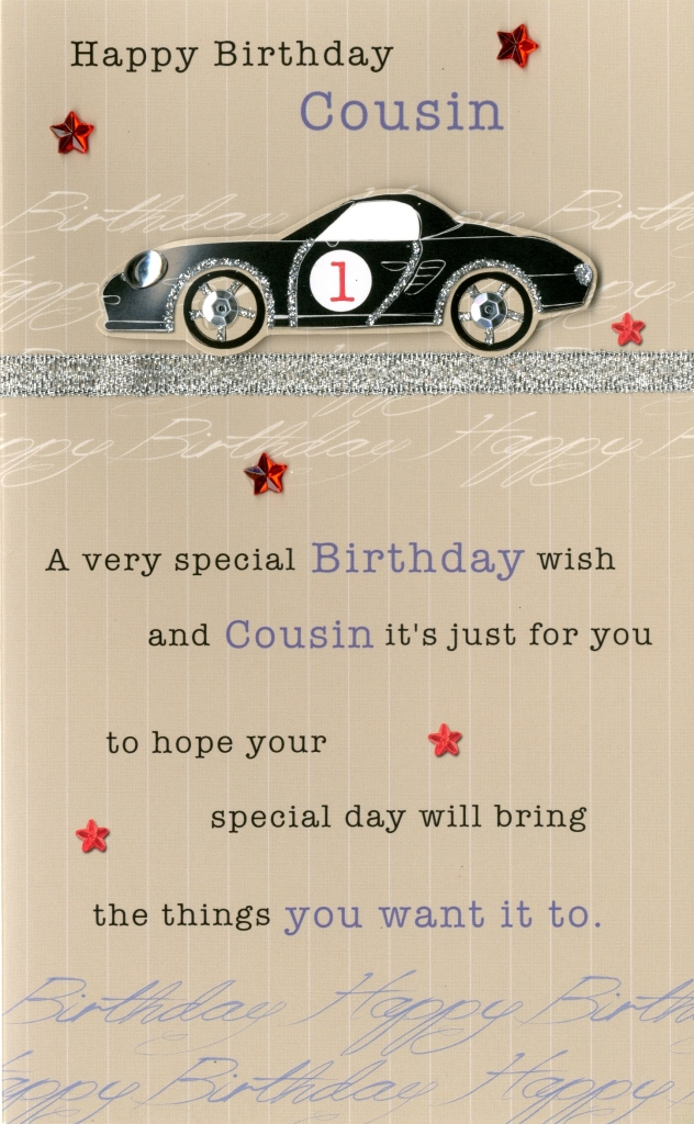 Happy Birthday Cousin Embellished Greeting Card Cards