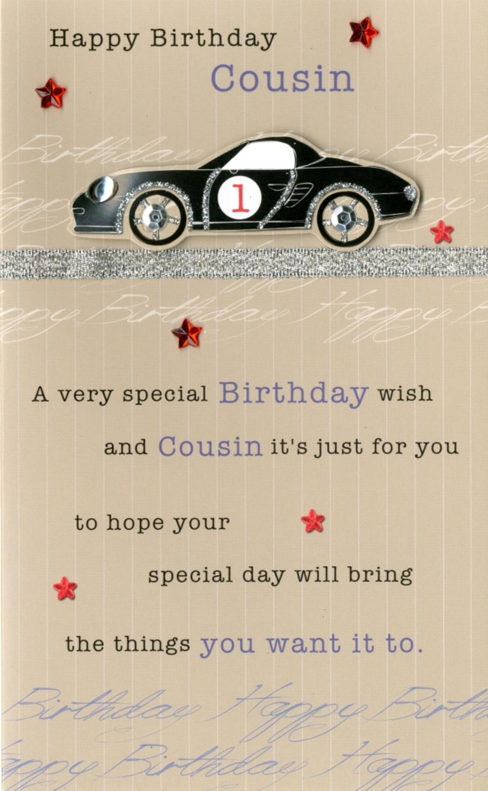 Happy Birthday Cousin Embellished Greeting Card Cards – Happy Birthday Cousin Card