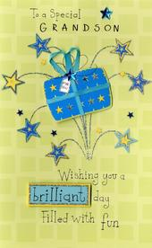 Happy Birthday Grandson Embellished Greeting Card