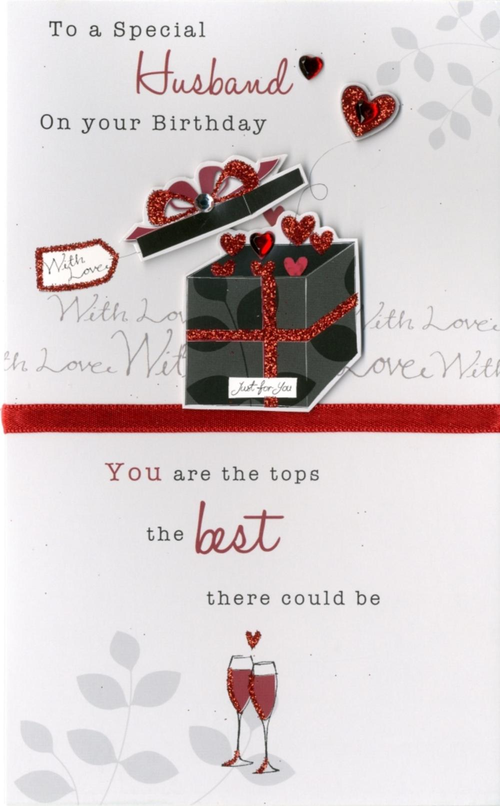Happy Birthday Husband Embellished Greeting Card