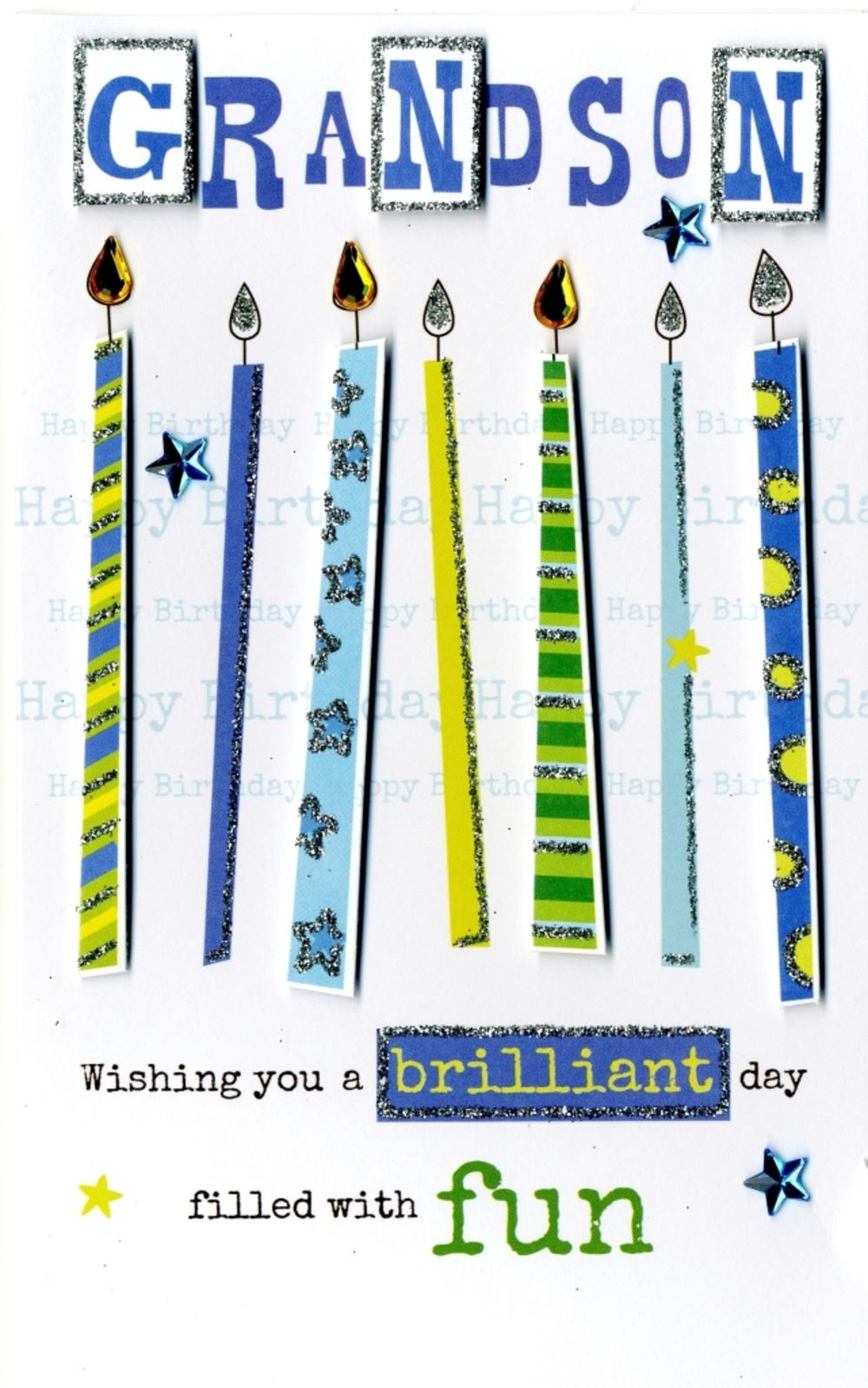Happy Birthday Grandson Embellished Greeting Card
