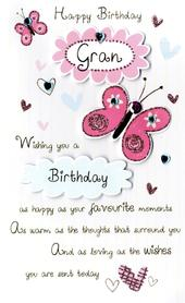 Happy Birthday Gran Embellished Greeting Card