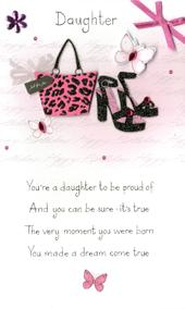 Happy Birthday Daughter Embellished Greeting Card