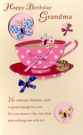Happy Birthday Grandma Embellished Greeting Card