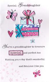 Happy Birthday Granddaughter Embellished Greeting Card
