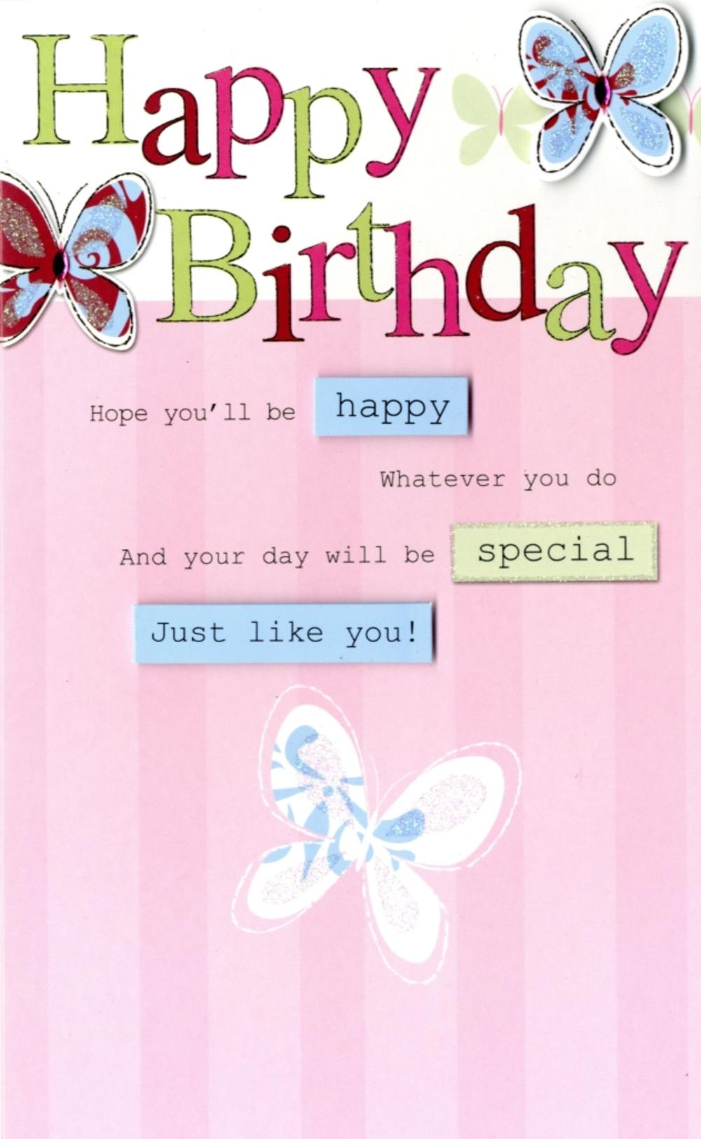 Happy Birthday Pretty Butterfly Greeting Card