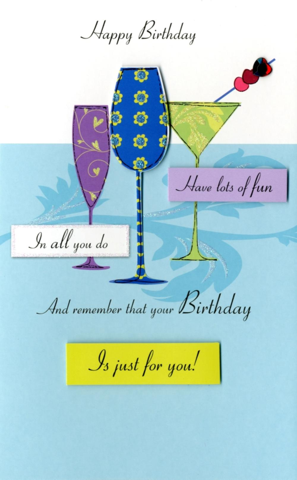 Happy Birthday Raise A Glass Greeting Card