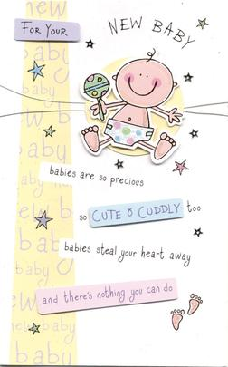 New Baby Embellished Greeting Card