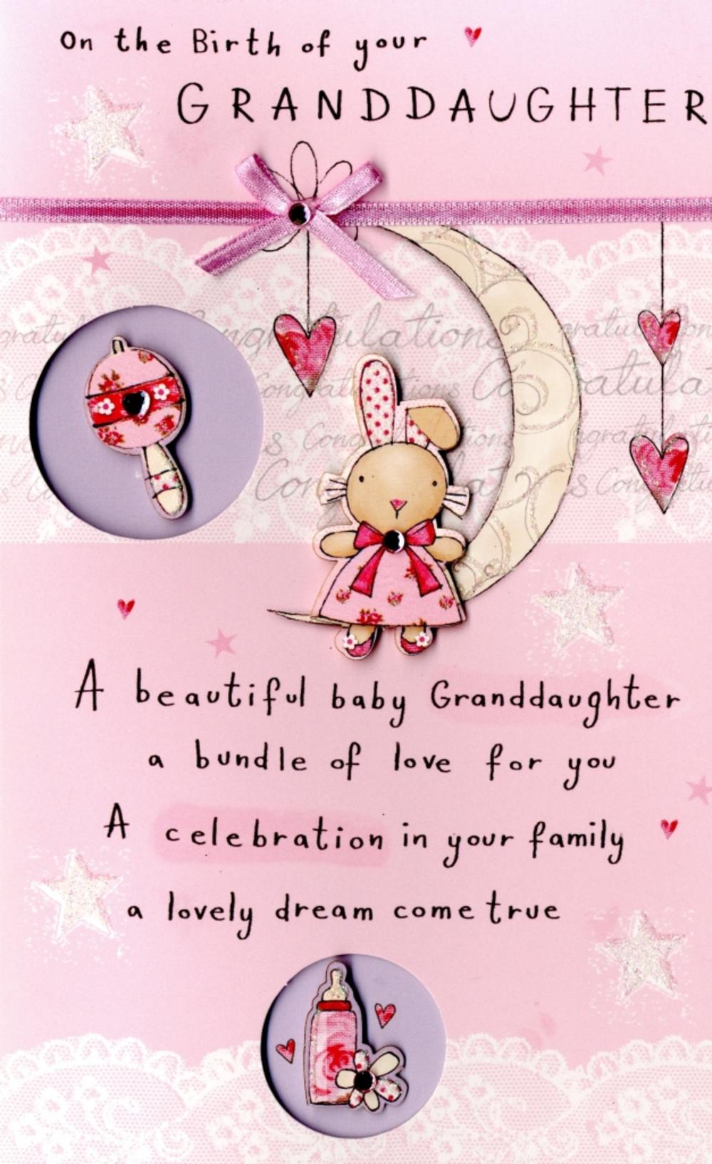 New Baby Granddaughter Embellished Greeting Card Cards Love Kates