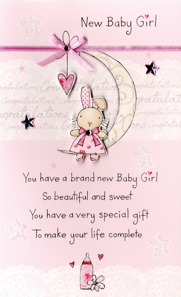 New Baby Girl Embellished Greeting Card Cards Love Kates