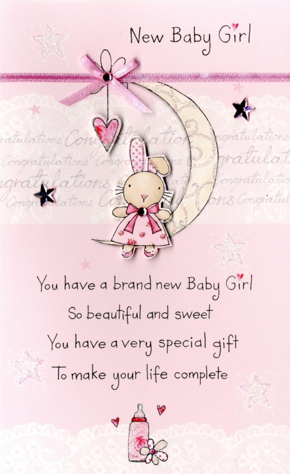 New Baby Girl Embellished Greeting Card