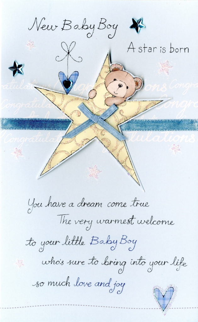 New Baby Boy Embellished Greeting Card Cards