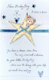 New Baby Boy Embellished Greeting Card
