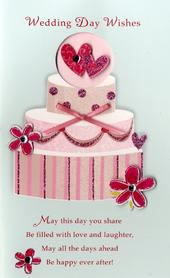 Wedding Day Wishes Embellished Greeting Card