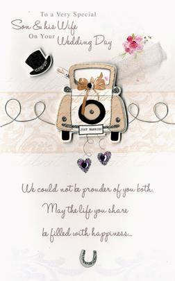 Son & Wife Embellished Wedding Greeting Card