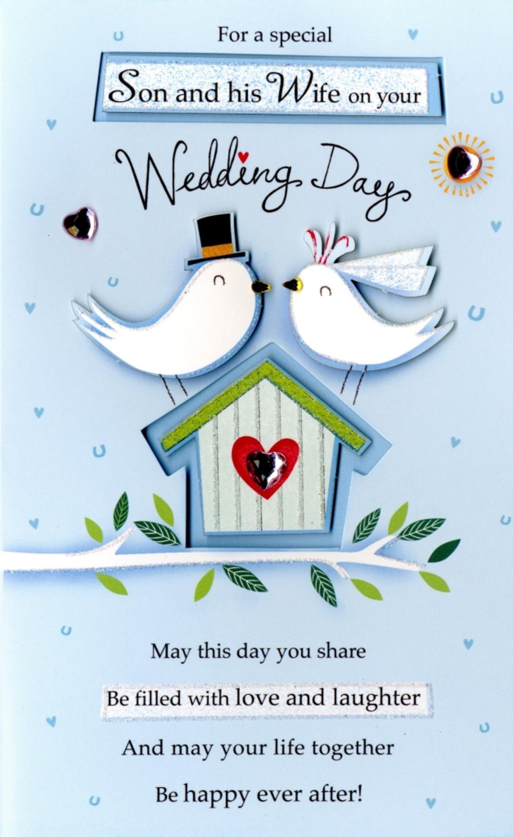 Son wife wedding day greeting card cards love kates son wife wedding day greeting card m4hsunfo