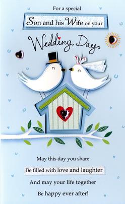 Son & Wife Wedding Day Greeting Card
