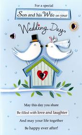 Son & Wife Wedding Day Greeting Card