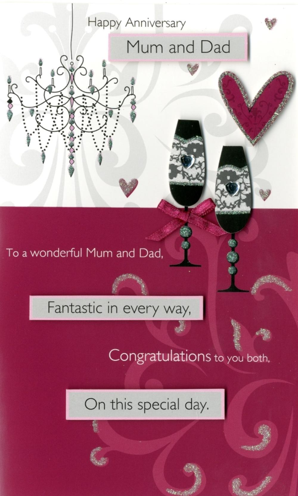 Mum Dad Anniversary Embellished Greeting Card Cards Love Kates