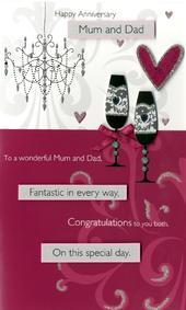 Mum & Dad Anniversary Embellished Greeting Card
