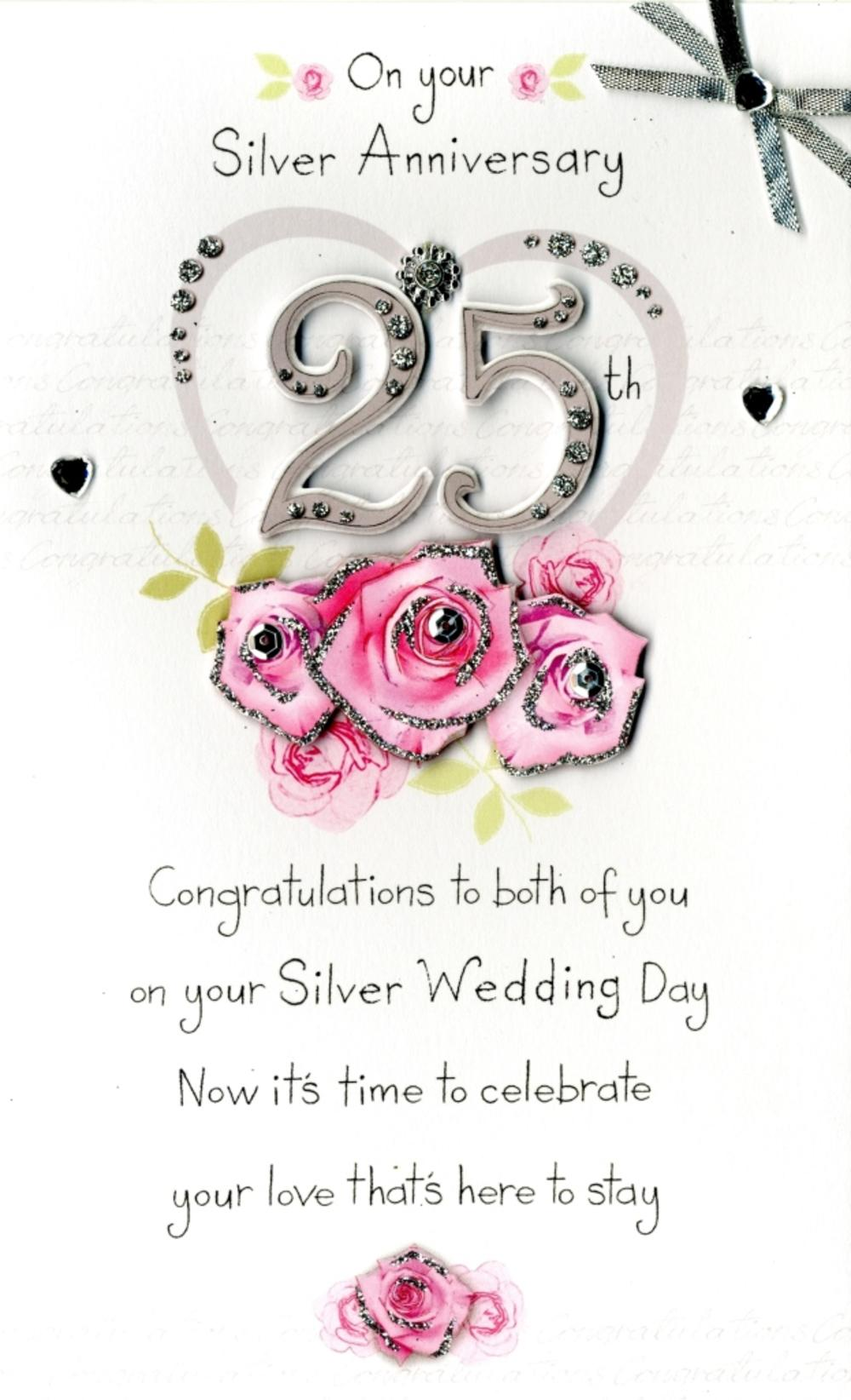 on your 25th silver anniversary greeting card cards