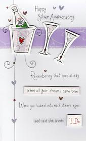 Happy 25th Silver Anniversary Greeting Card