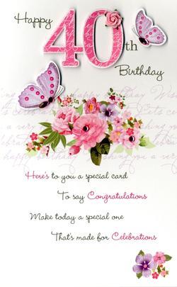 40th Female Happy Birthday Greeting Card