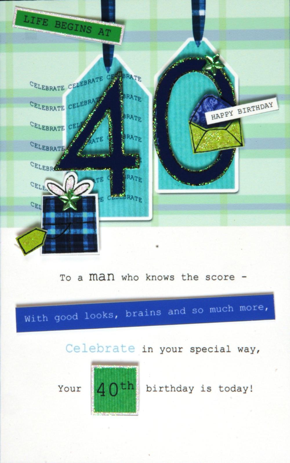 40th Male Happy Birthday Greeting Card