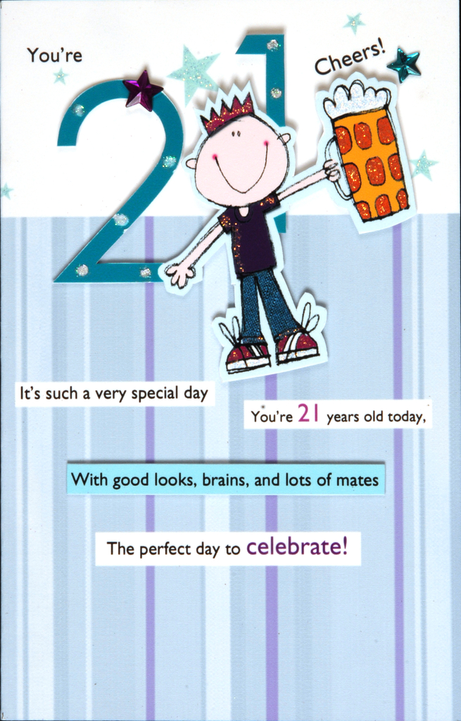 21st Male Happy Birthday Greeting Card Cards Love Kates