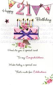 21st Female Happy Birthday Greeting Card