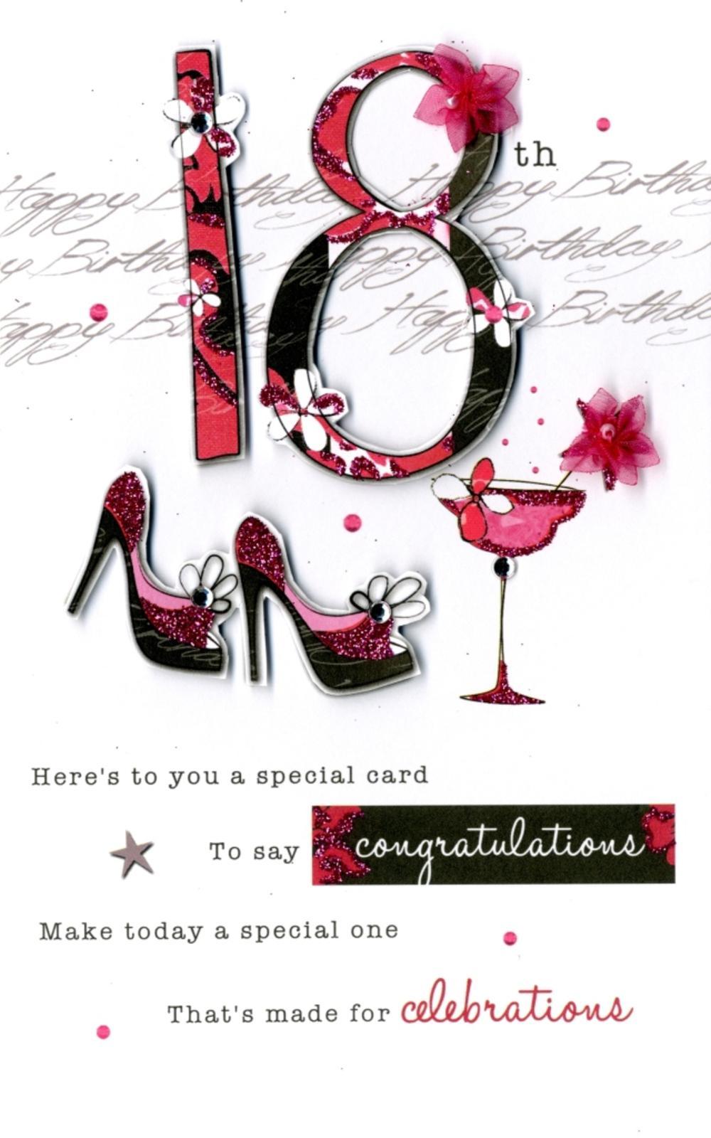 18th Female Happy Birthday Greeting Card