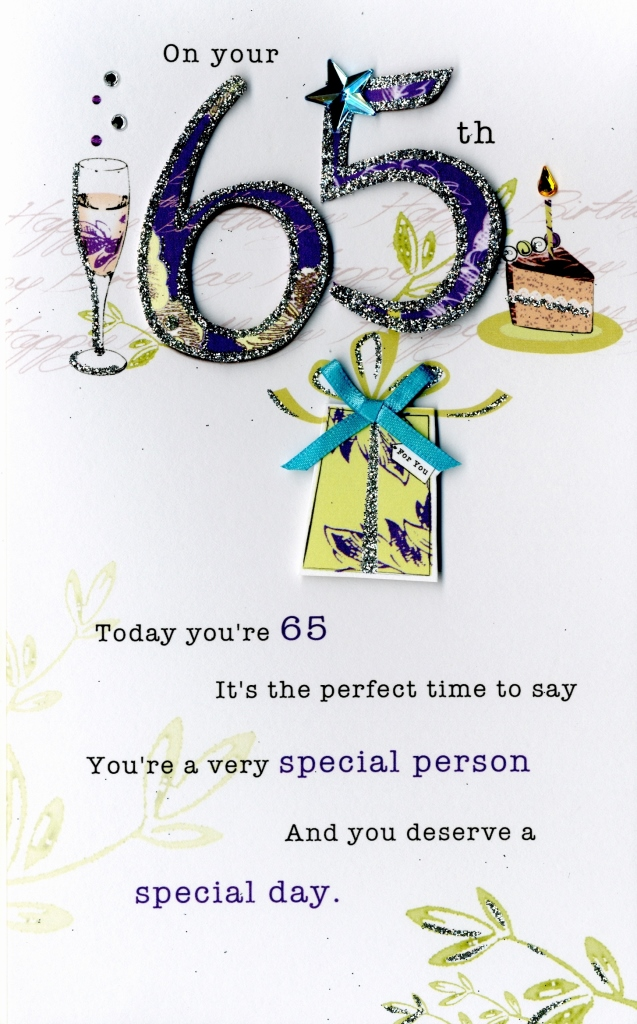 65th Happy Birthday Embellished Greeting Card