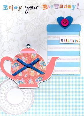 Enjoy Tea & Biscuits Handmade Birthday Card