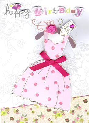 Pink Dress Handmade Birthday Card
