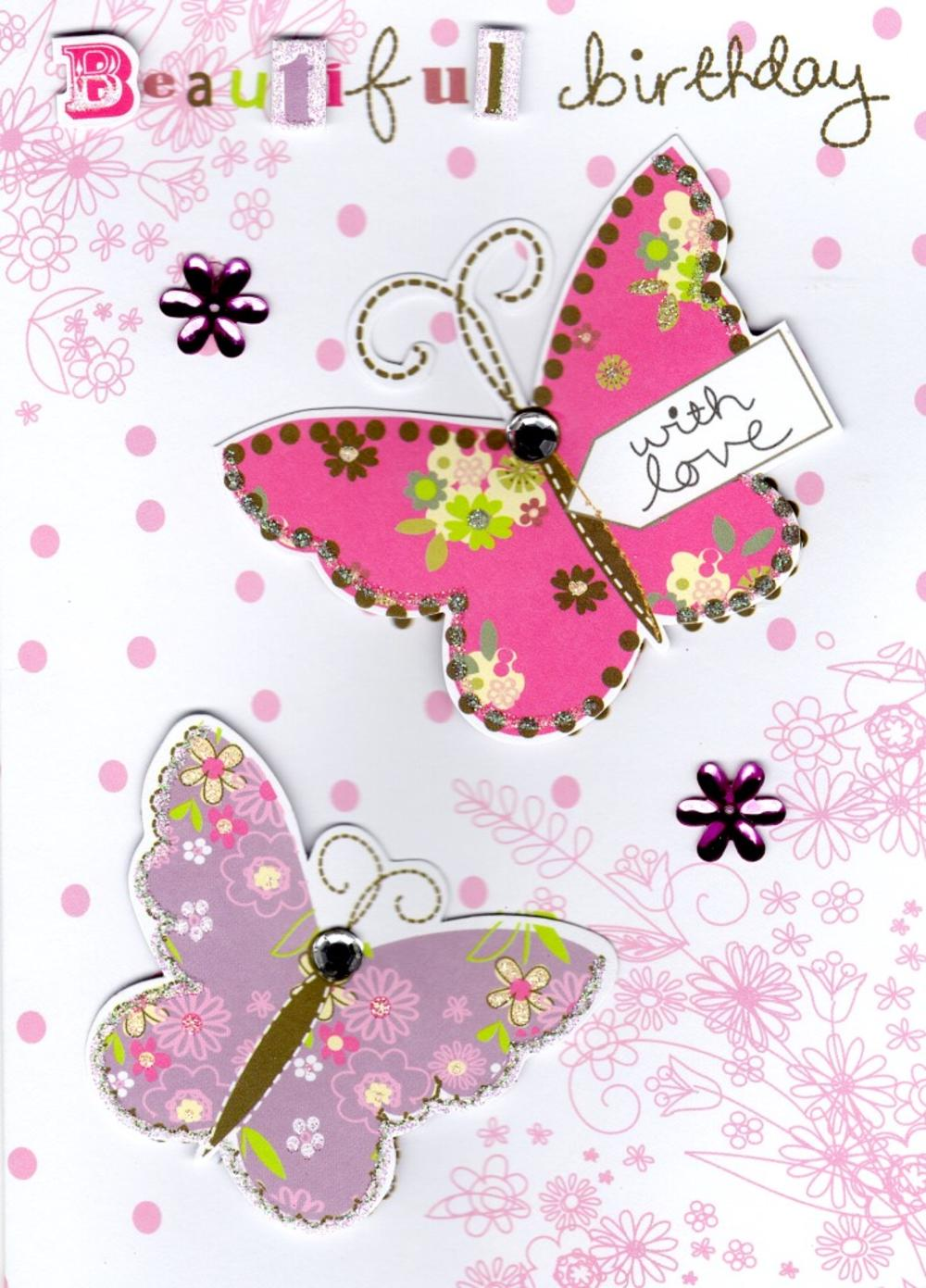 Beautiful Butterfly Handmade Birthday Card