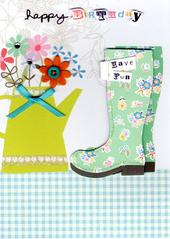 Gardening Wellies Handmade Birthday Card