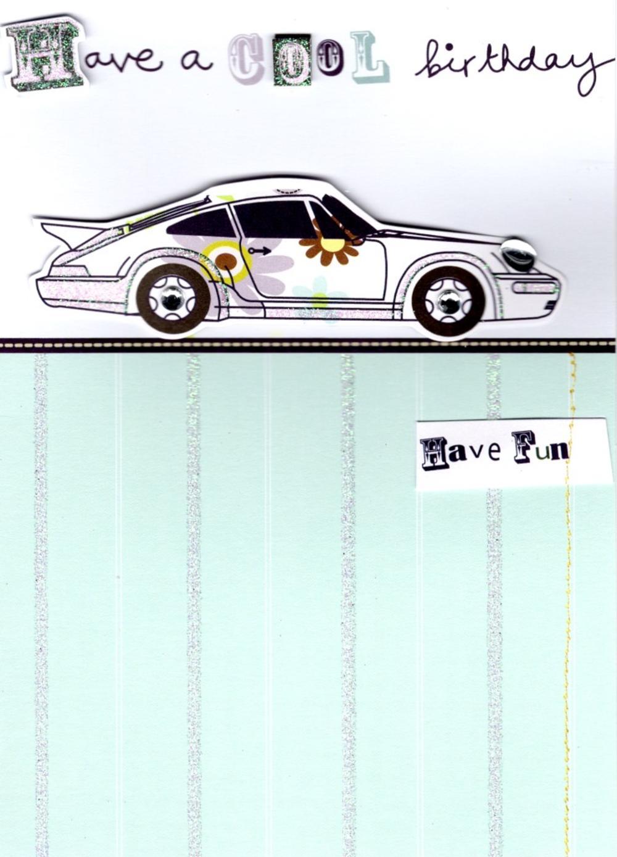 Cool Car Handmade Birthday Card