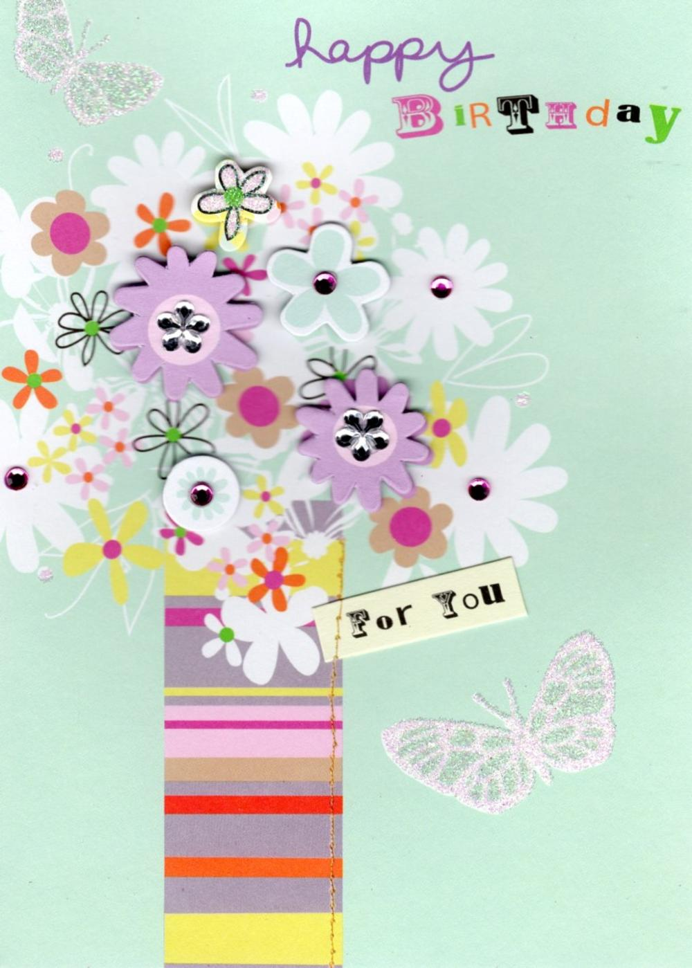 Vase Flowers Handmade Birthday Card